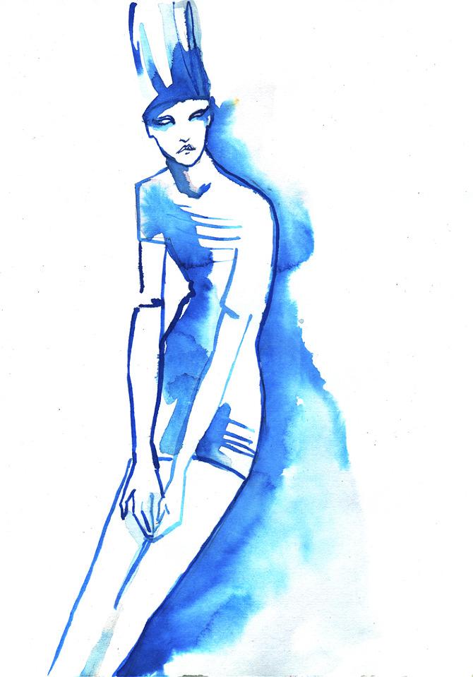 Blue Ink Fashion Illustration Baiba Ladiga Illustration